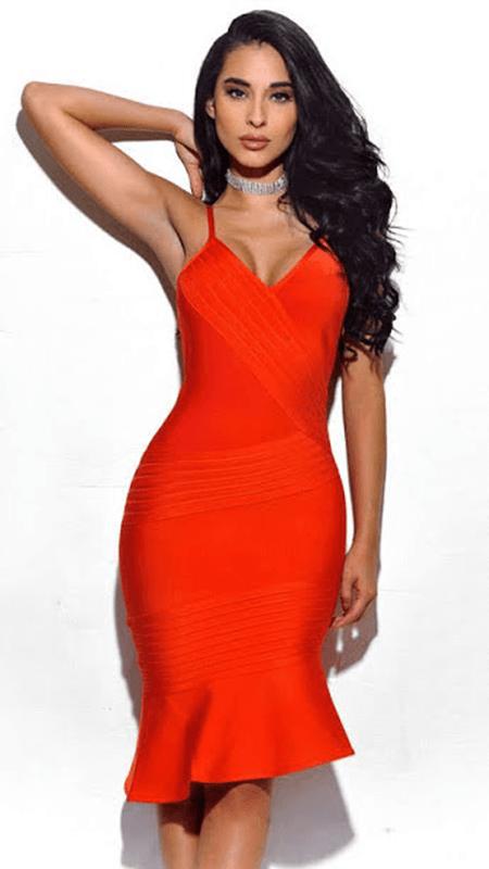 beautiful model wearing sexy red dress